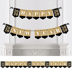 New Year's Eve - Gold - Personalized 2020 New Year's Eve Party Bunting Banner & Decorations