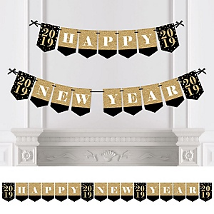 New Year's Eve - Gold - Personalized 2019 New Year's Eve Party Bunting Banner & Decorations