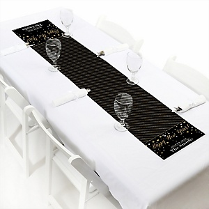 """New Year's Eve - Gold - Personalized 2020 Petite New Years Eve Party Table Runner - 12"""" x 60"""""""