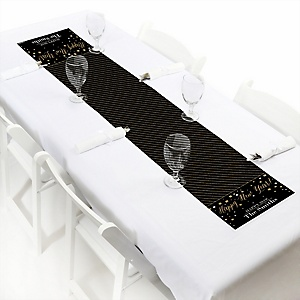 """New Year's Eve - Gold - Personalized Petite New Years Eve Party Table Runner - 12"""" x 60"""""""