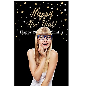 "New Year's Eve Party - Gold - New Year's Eve Party Personalized Photo Booth Backdrops - 36"" x 60"""