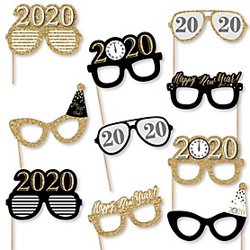 New Year's Eve - Gold - 10 Piece 2020 Paper Card Stock New Years Eve Glasses Photo Booth Props Kit