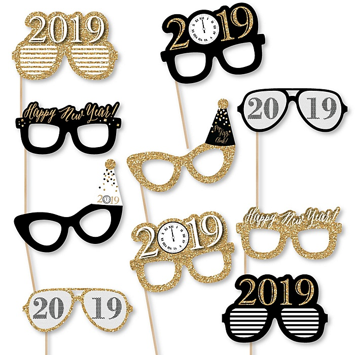 New Year's Eve - Gold - 10 Piece 2019 Paper Card Stock New Years Eve Glasses Photo Booth Props Kit