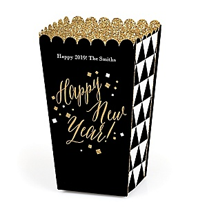 New Year's Eve - Gold - Personalized New Year's Eve Party Popcorn Favor Treat Boxes - Set of 12