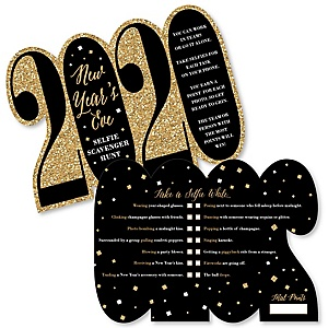 New Year's Eve - Gold - Selfie Scavenger Hunt - 2020 New Years Eve Game - Set of 12