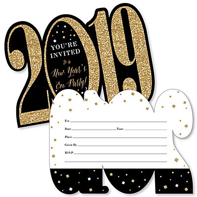 New Year S Eve Gold Shaped Fill In Invitations 2019 New Years