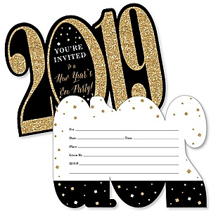 New Year's Eve - Gold - Shaped Fill-In Invitations - 2019 New Years Eve Party Invitation Cards with Envelopes - Set of 12