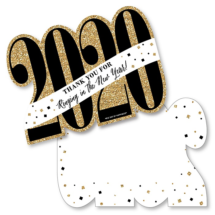 New Year's Eve - Gold - Shaped Thank You Cards - 2020 New Years Eve Party Thank You Note Cards with Envelopes - Set of 12