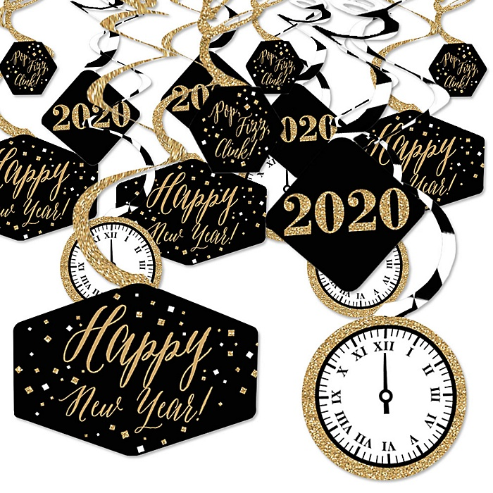 New Year's Eve - Gold - 2020 New Years Eve Party Hanging Decor - Party Decoration Swirls - Set of 40