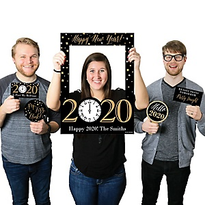 New Year's Eve - Gold - Personalized 2020 New Years Eve Selfie Photo Booth Picture Frame & Props - Printed on Sturdy Material
