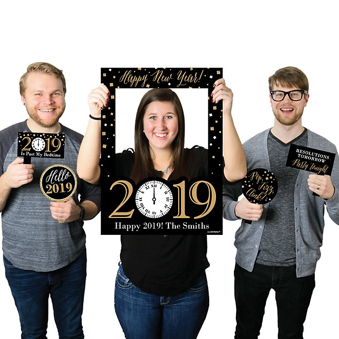 New Year's Eve - Gold - Personalized 2019 New Years Eve Selfie Photo Booth Picture Frame & Props - Printed on Sturdy Material