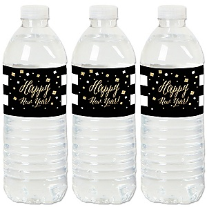 New Year's Eve - Gold - New Years Eve Party Water Bottle Sticker Labels - Set of 20