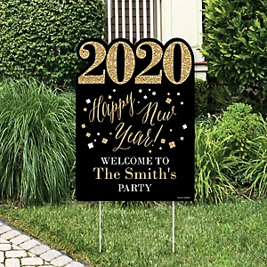 New Year's Eve - Gold - Party Decorations - 2020 New Years Eve Personalized Welcome Yard Sign