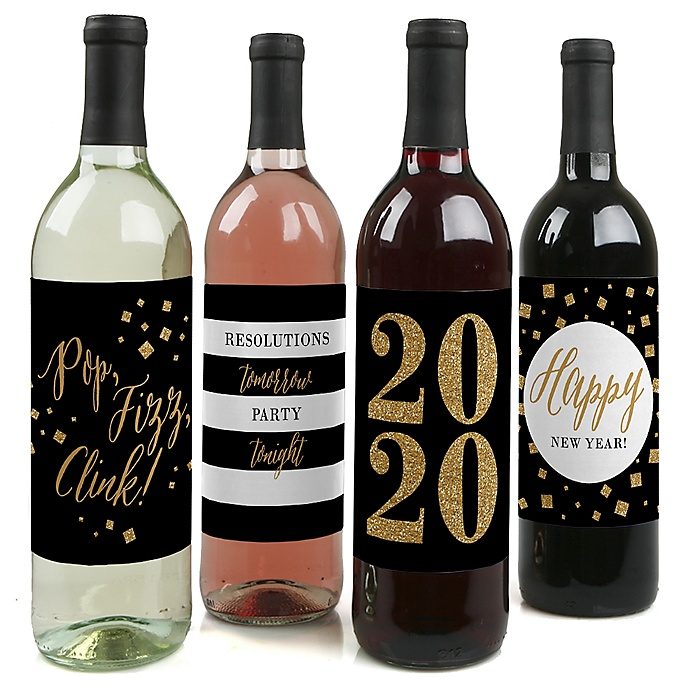New Year's Eve - Gold - 2020 Holiday Decorations for Women and Men - Wine Bottle Label Stickers - Set of 4