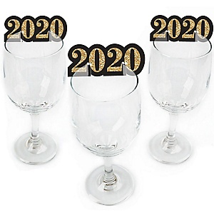 New Year's Eve - Gold - Shaped 2020 New Years Eve Party Wine Glass Markers - Set of 24