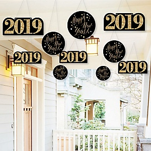 Hanging New Year's Eve - Gold - Outdoor 2019 New Years Eve Hanging Porch & Tree Yard Decorations - 10 Pieces