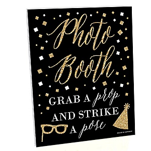 Gold and Black Photo Booth Sign - New Year's Eve Party Decorations - Printed on Sturdy Plastic Material - 10.5 x 13.75 inches - Sign with Stand - 1 Piece