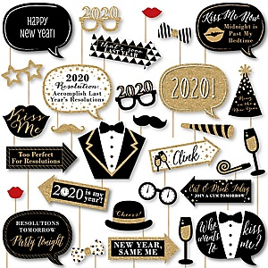 New Year's Eve - Gold - 2020 New Years Eve Party DIY Photo Booth Decor and Accessories - Picture Perfect Props Kit - 30 Pieces
