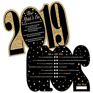New Year's Eve - Gold - Selfie Scavenger Hunt - 2019 New Years Eve Game - Set of 12