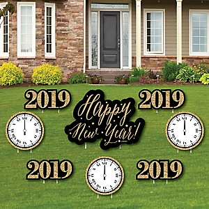 New Year's Eve - Gold - Yard Sign & Outdoor Lawn Decorations - 2019 New Years Eve Yard Signs - Set of 8