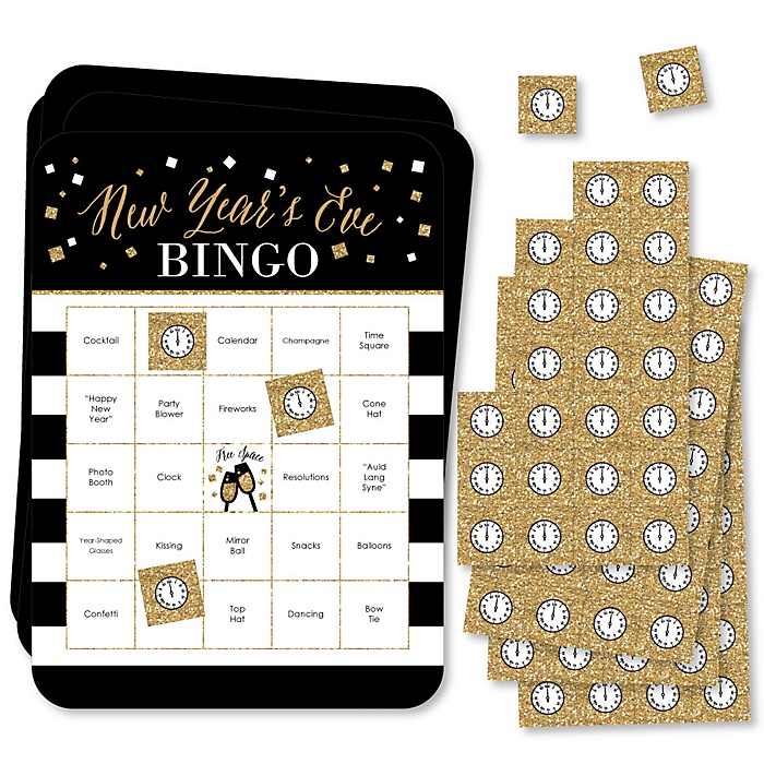 New Year's Eve - Gold - Bar Bingo Cards and Markers - New Years Eve Party Bingo Game - Set of 18