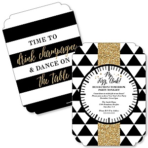New Year's Eve - Gold - Shaped New Year's Eve Party Invitations - Set of 12