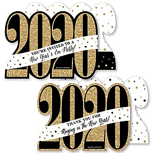 New Year's Eve - Gold - 20 Shaped Fill-In Invitations and 20 Shaped Thank You Cards Kit - 2020 New Years Eve Party Stationery Kit - 40 Pack