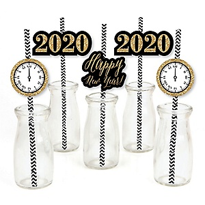 New Year's Eve - Gold - Paper Straw Decor - 2020 New Year's Eve Party Striped Decorative Straws - Set of 24