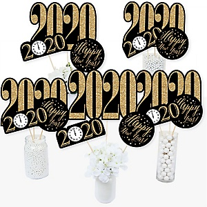 New Year's Eve - Gold - 2020 New Years Eve Party Centerpiece Sticks - Table Toppers - Set of 15