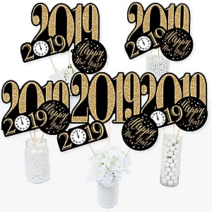 New Year's Eve - Gold - 2019 New Years Eve Party Centerpiece Sticks - Table Toppers - Set of 15