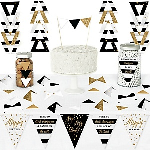 New Year's Eve - Gold - DIY Pennant Banner Decorations - New Years Eve Party Triangle Kit - 99 Pieces
