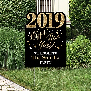 New Year's Eve - Gold - Party Decorations - 2019 New Years Eve Personalized Welcome Yard Sign