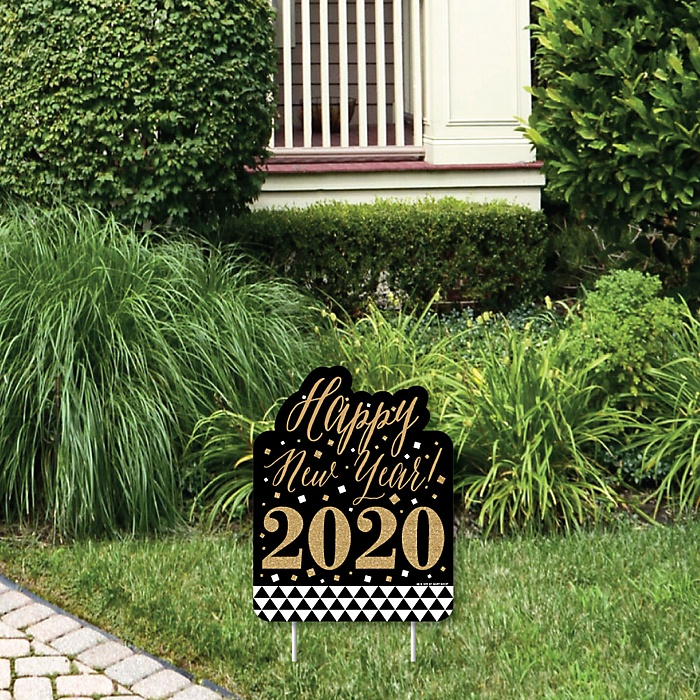 New Year's Eve - Gold - Outdoor Lawn Sign - 2020 New Years Eve Party Yard Sign - 1 Piece