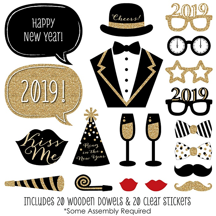 2019 New Year's Eve Party - Gold - 20 Piece Photo Booth Props Kit