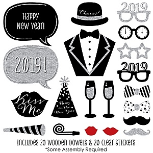 2019 New Year's Eve Party - Silver - 20 Piece Photo Booth Props Kit