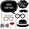 2018 New Year's Eve Party - Silver - 20 Piece Photo Booth Props Kit