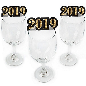 New Year's Eve - Gold - Shaped 2019 New Years Eve Party Wine Glass Markers - Set of 24