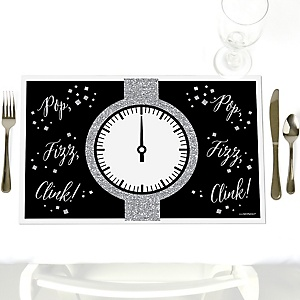 New Year's Eve - Silver - Party Table Decorations - New Year's Eve Party Placemats - Set of 12