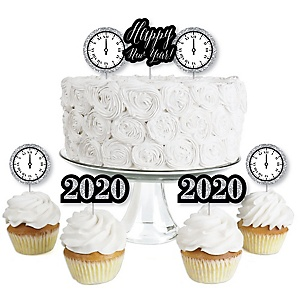 New Year's Eve - Silver - Dessert Cupcake Toppers - New Years Eve 2020 Party Clear Treat Picks - Set of 24