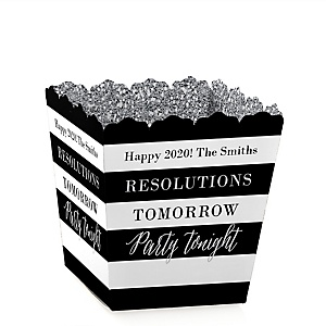 New Year's Eve - Silver - Personalized 2020 New Year's Eve Party Treat Candy Boxes - Set of 12