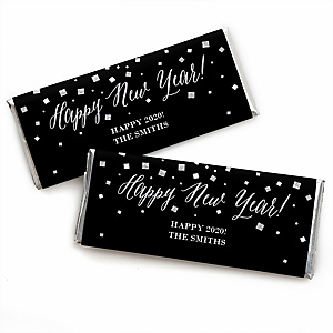 New Year's Eve - Silver - Personalized Candy Bar Wrappers 2020 New Year's Eve Favors - Set of 24