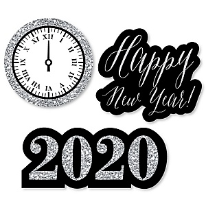 New Year's Eve - Silver - DIY Shaped 2020 New Year's Eve Party Paper Cut-Outs - 24 ct