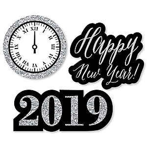 New Year's Eve - Silver - DIY Shaped 2019 New Year's Eve Party Paper Cut-Outs - 24 ct