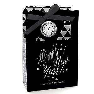 New Year's Eve - Silver – Personalized New Years Eve Party Favor Boxes - Set of 12