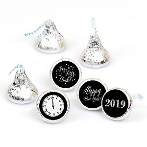 New Year's Eve - Silver - 108 Round Candy Labels 2019 New Years Eve Party Favors - Fits Hershey Kisses