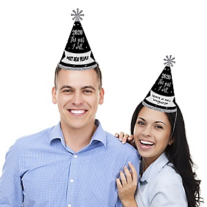 New Year's Eve - Silver - Cone Party Hats - 2020 New Year's Eve Resolution cone Party Hat for Kids and Adults - Set of 8 (Standard Size)