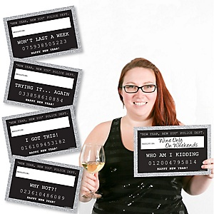 New Year's Eve - Silver - Party Mug Shots - 20 Piece Photo Booth Props Kit