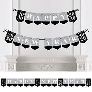 New Year's Eve - Silver - Personalized 2020 New Year's Eve Party Bunting Banner & Decorations