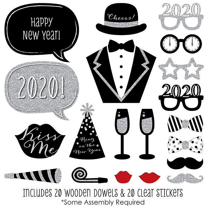 2020 New Year's Eve Party - Silver - 20 Piece Photo Booth Props Kit