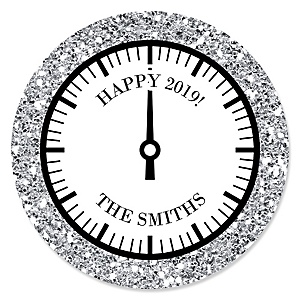 New Year's Eve - Silver - Personalized 2020 New Year's Eve Party Sticker Labels - 24 ct